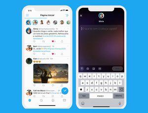 """Deux smartphones présentant les deux interfaces de la fonctionnalité """"Fleets"""" de Twitter."""