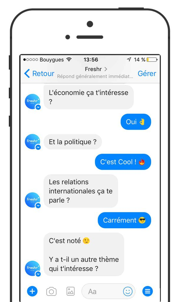 freshr : chatbot d'information messenger