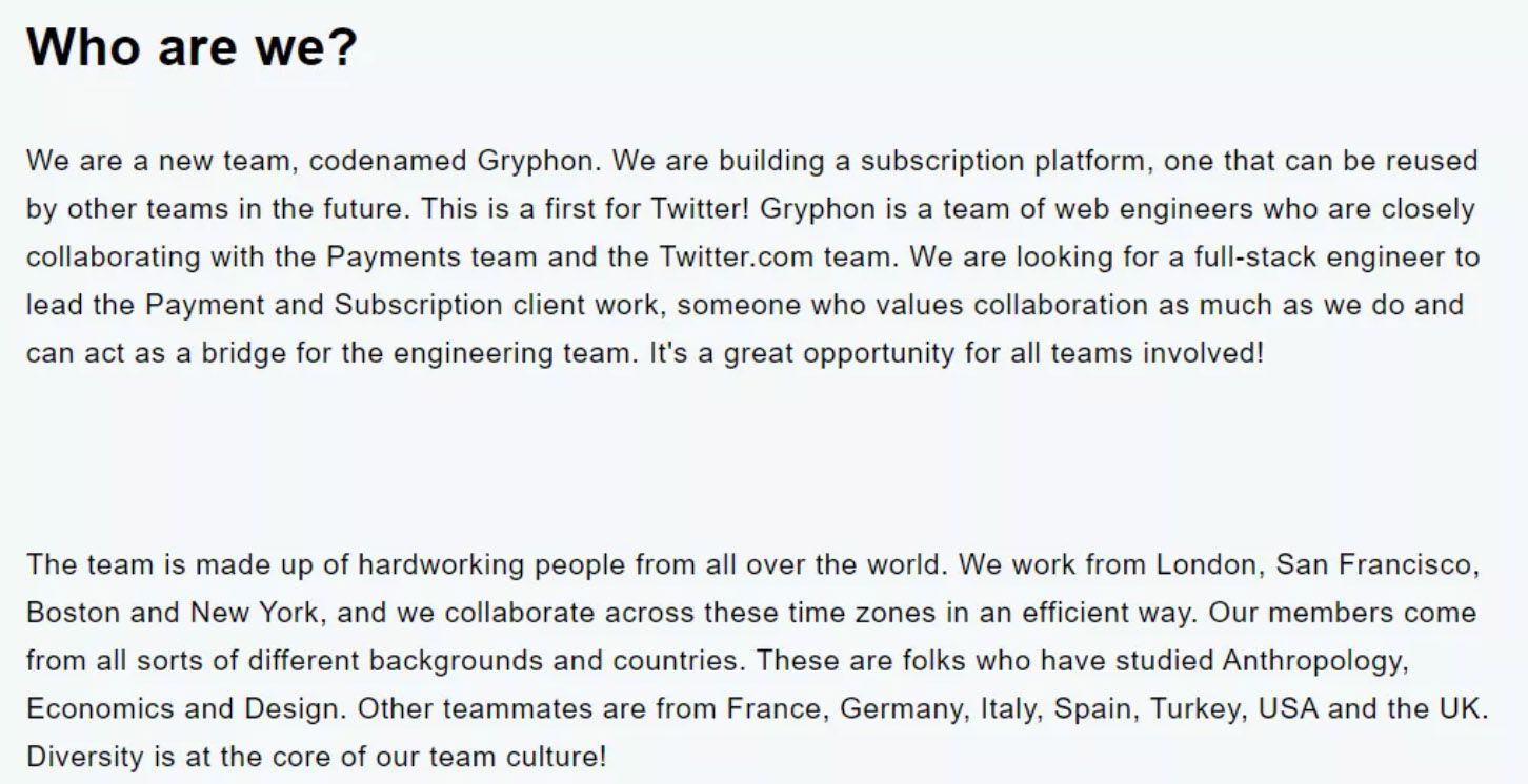L'offre d'emploi publiée par Twitter dans le cadre du projet Gryphon.