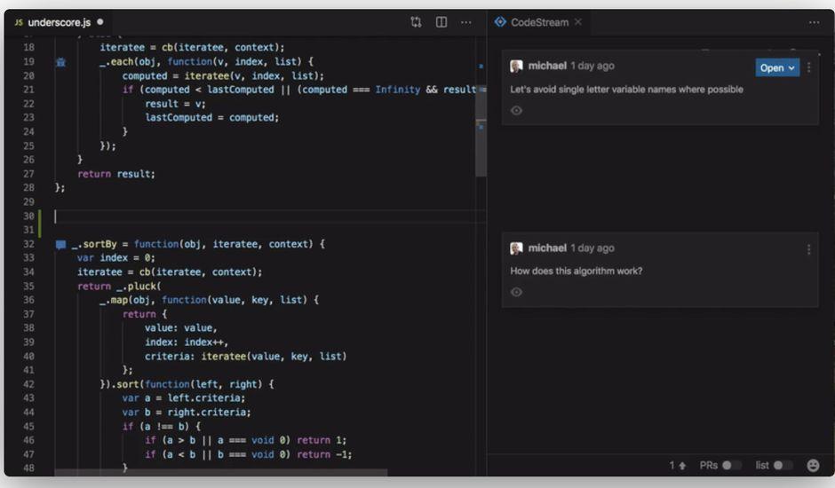 aperçu de l'outil code stream