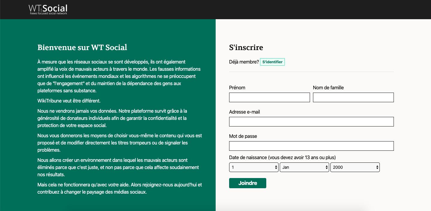 page d'accueil du réseau social WT : Social