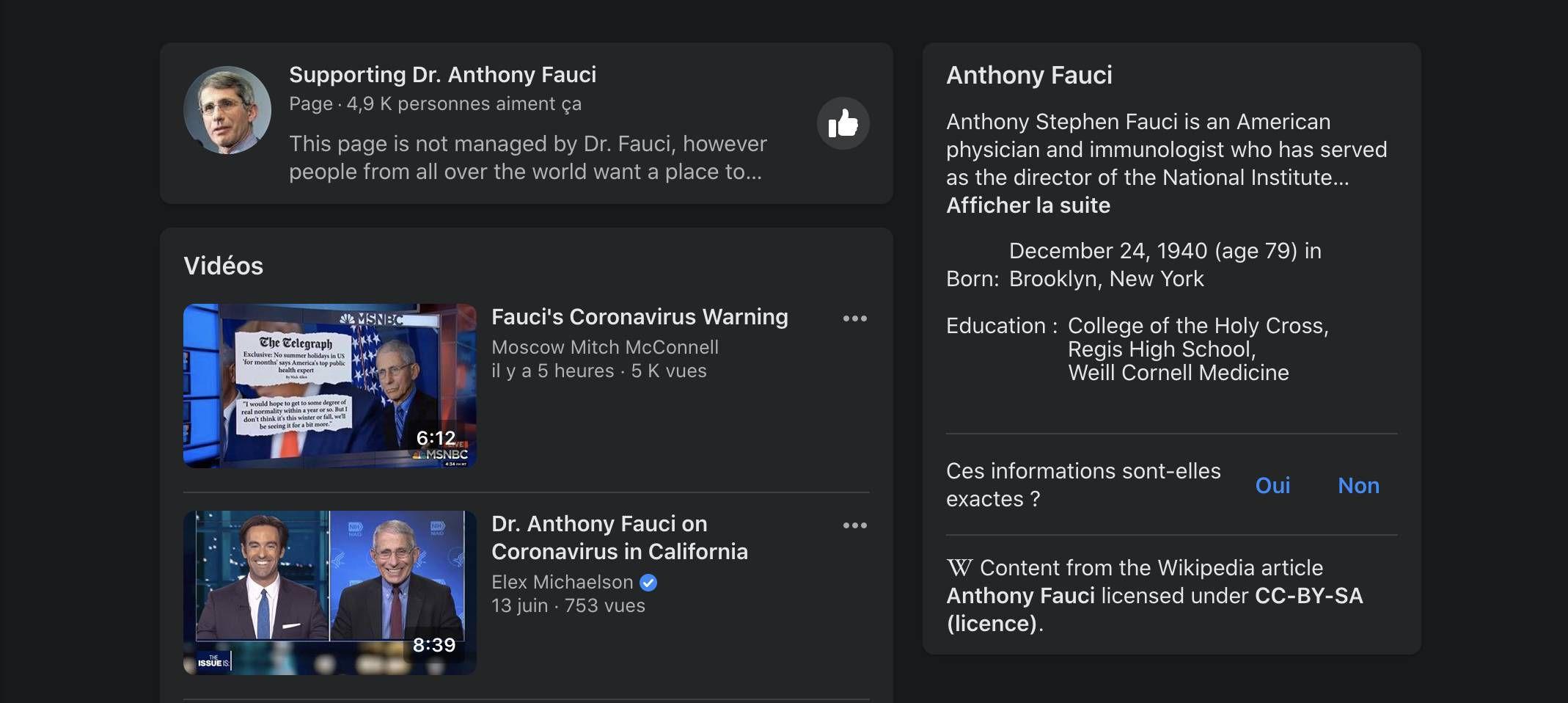 Une capture d'écran montrant le nouvel outil de Facebook sur lequel s'affiche des informations sur le chercheur Anthony Fauci.