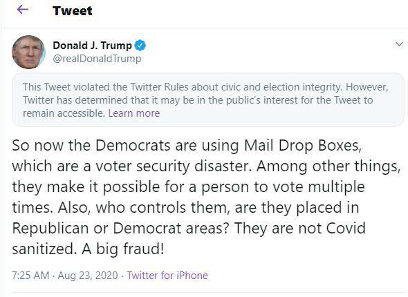 Le tweet signalé de Trump.
