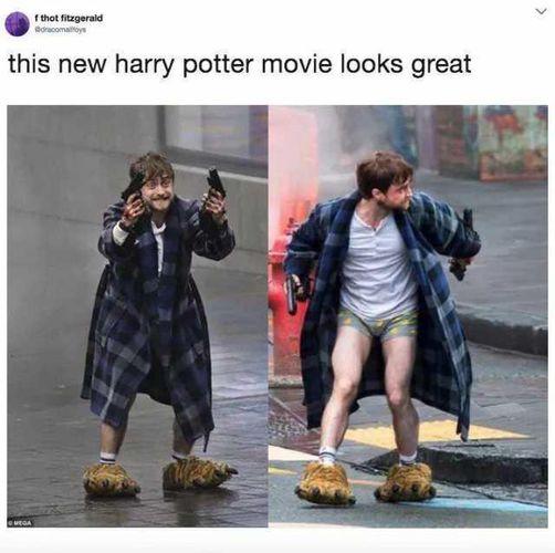 harry potter daniel radcliffe guns akimbo meme