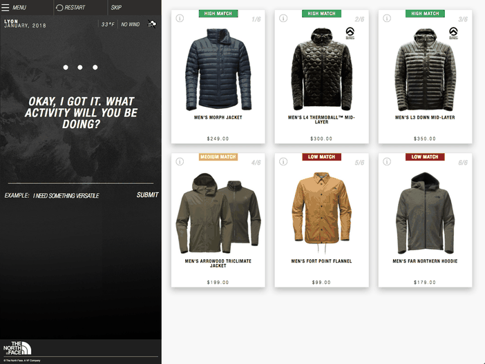 intelligence artificielle d'IBM Watson avec The North Face