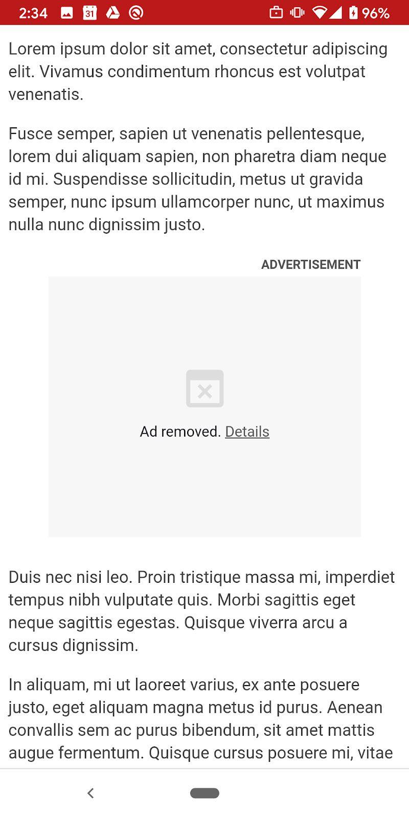 Une capture d'écran Android montrant une publicité bloquée sur Google Chrome.