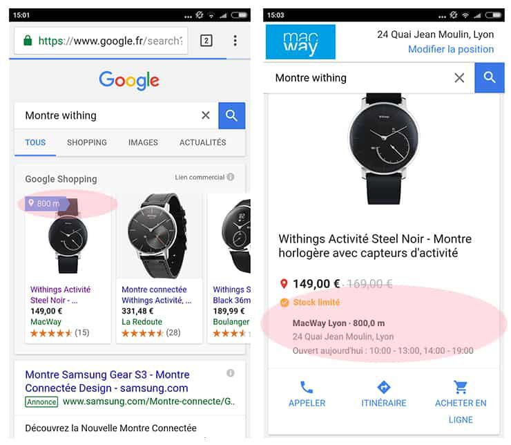 Google shopping pour le web to store