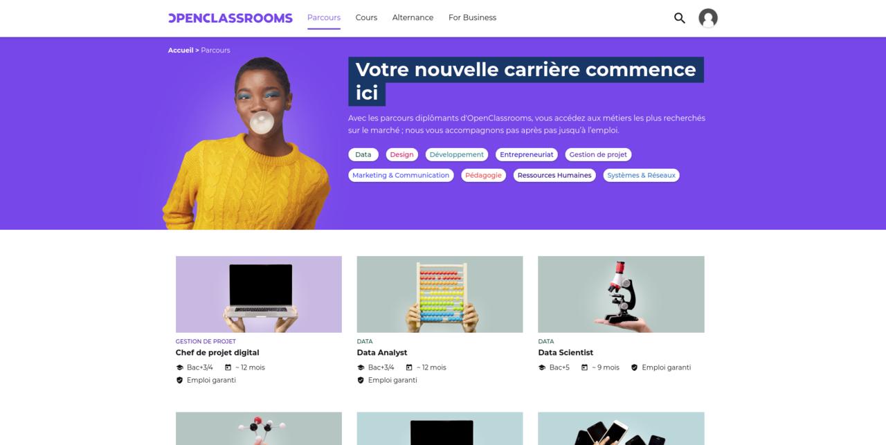 La plateforme OpenClassrooms