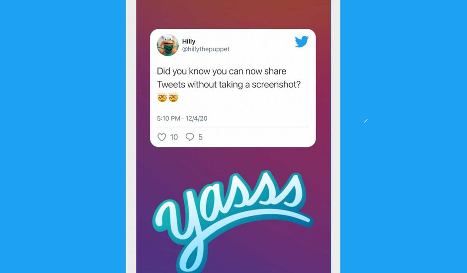Présentation du partage d'un tweet en story sur Instagram