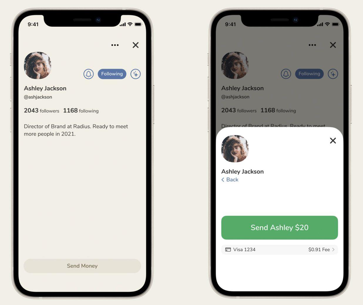 Captures d'écran de la fonctionnalité Clubhouse Payments.