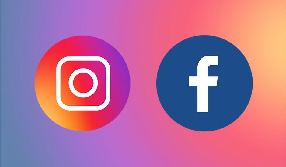 Les logos de Facebook et Instagram sur un fond de couleurs dégradées.