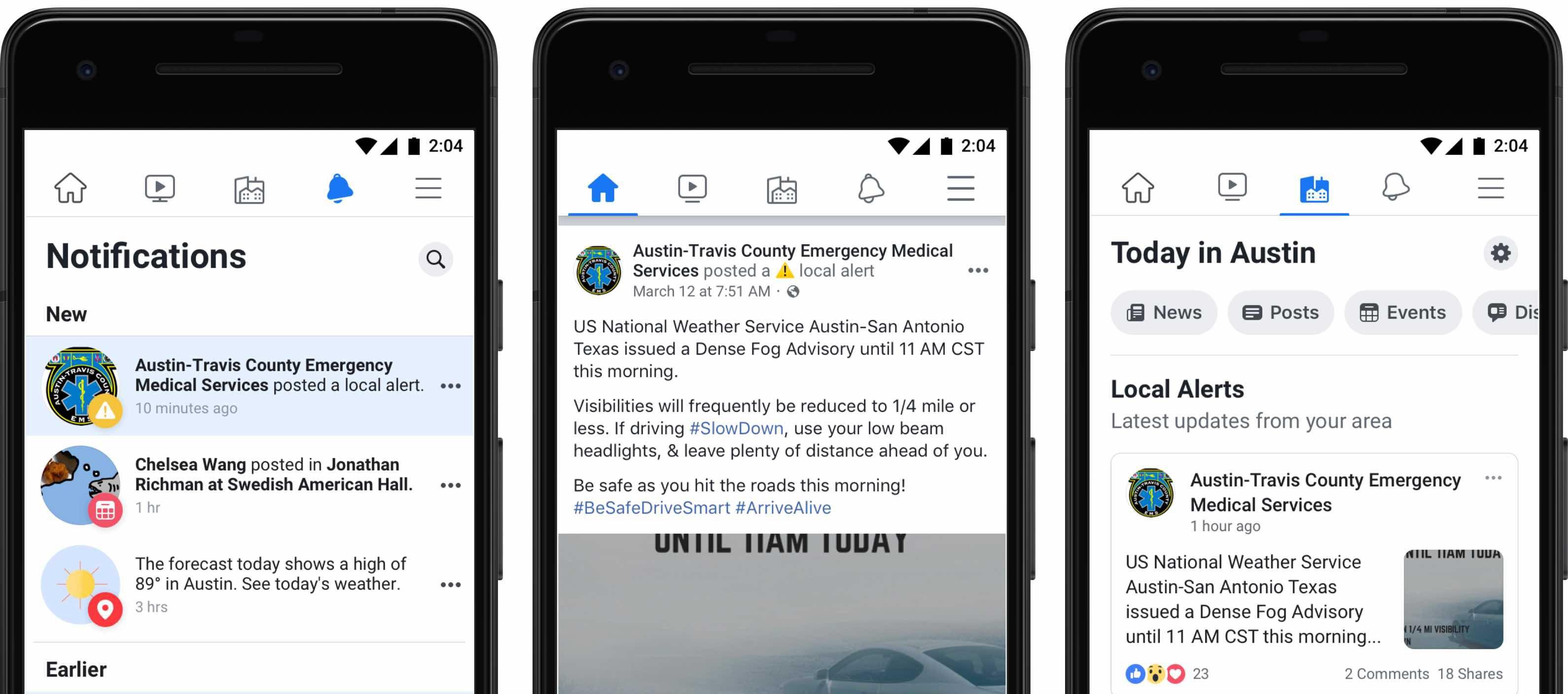 Facebook développe une fonctionnalité d'alertes locales aux USA.