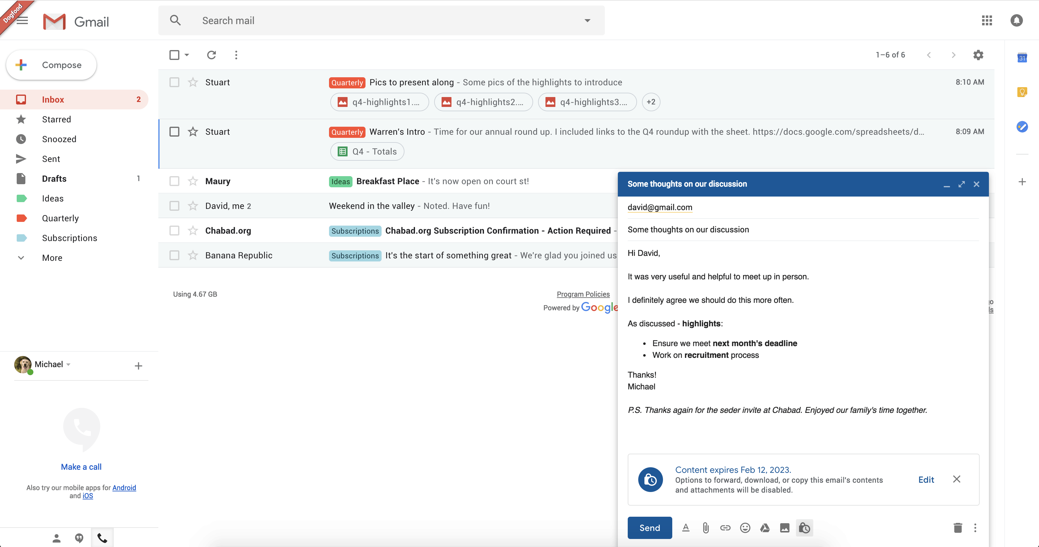 Mode confidentiel sur Gmail