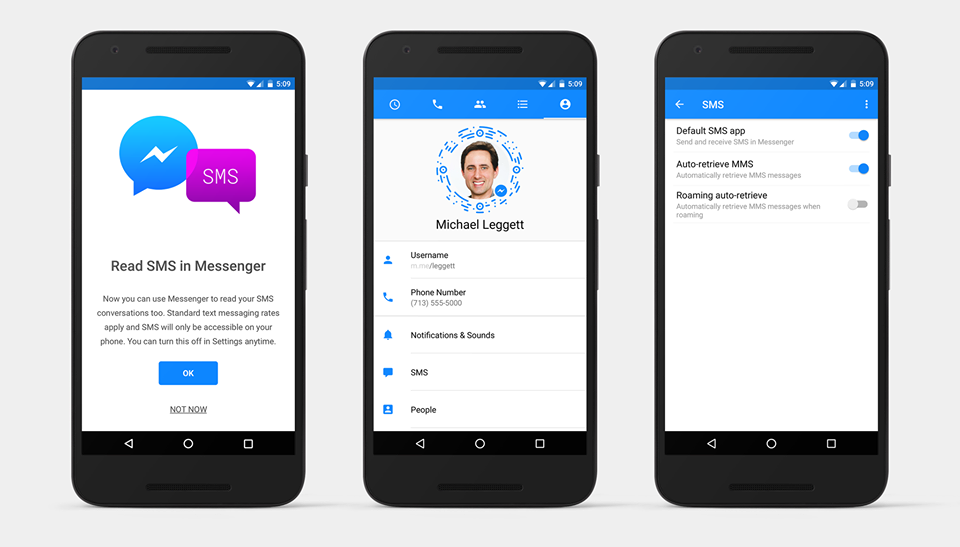 sms facebook messenger android