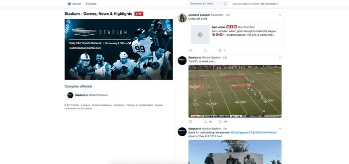 Twitter live stadium