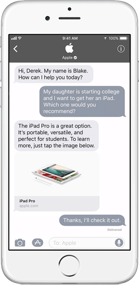 business chat apple imessage