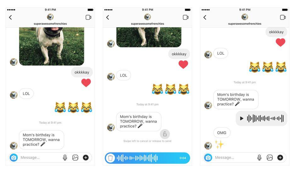 Il est désormais possible d'envoyer des messages vocaux sur Instagram