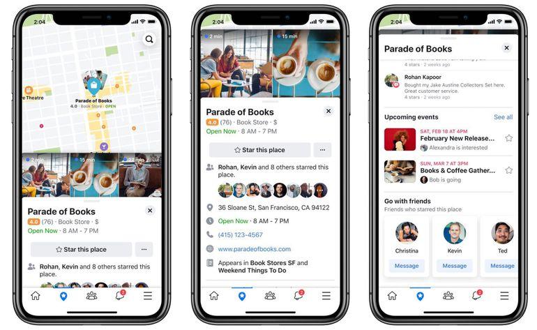 Nouvelle interface des lieux sur Facebook