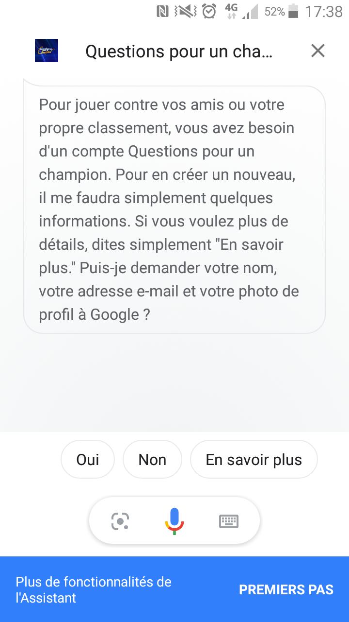 Lancement du jeu Questions pour un champion depuis l'Assistant Google sur Android