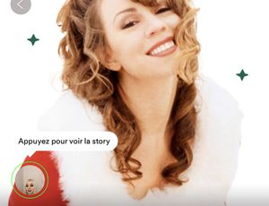"Exemple de stories sur la playlist ""Christmas Hits"" de Spotify."
