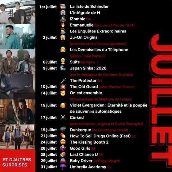L'agenda du mois de juillet 2020 de Netflix