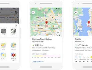 Aperçu des nouvelles fonctionnalités météorologiques de Google Maps.