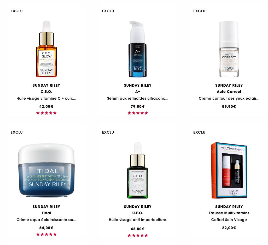 Page présentant les produits Sunday Riley sur le site de Sephora France