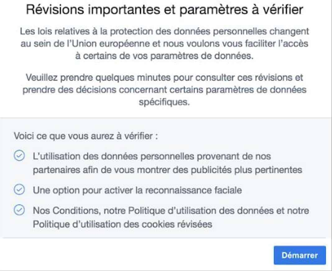 Facebook incite ses utilisateurs à accepter la reconnaissance faciale
