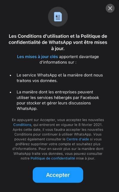 La notification de WhatsApp sur la mise à jour de sa politique de confidentialité.