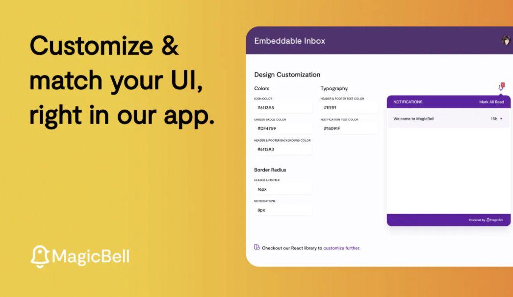 personnalisation de l'interface de MagicBell