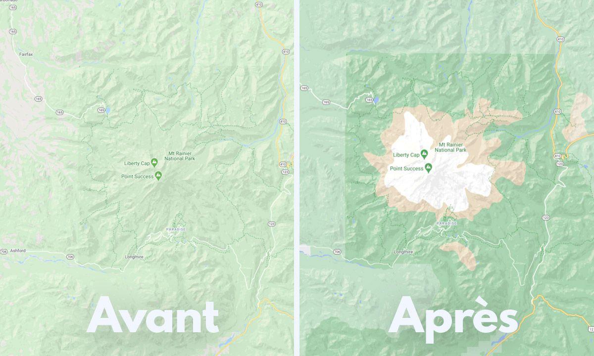 Comparaison de l'ancienne version de Google Maps à la nouvelle.