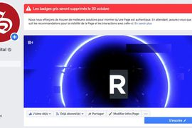 Capture d'écran du bandeau annonçant la suppression du badge gris sur la page Facebook de Siècle Digital