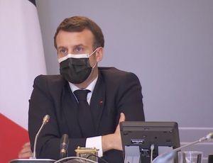 Emmanuel Macron lors de sa conférence le jeudi 18 février 2021 présentant un plan d'un milliard d'euros dédié à la Cybersécurité (Crédit Photo : Elysée)