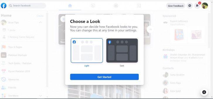 basculer entre le dark mode ou le mode normal de Facebook