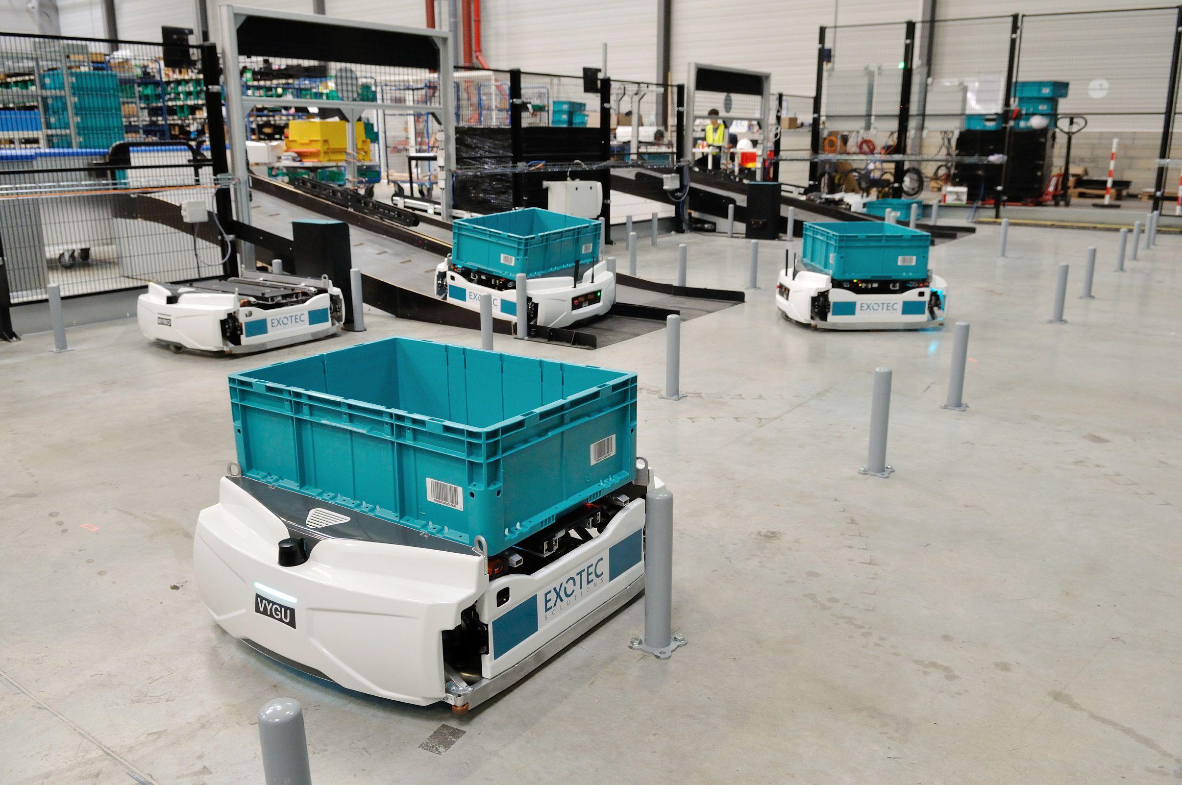 Des robots préparateurs de commandes Skypod dévelopés par Exotec