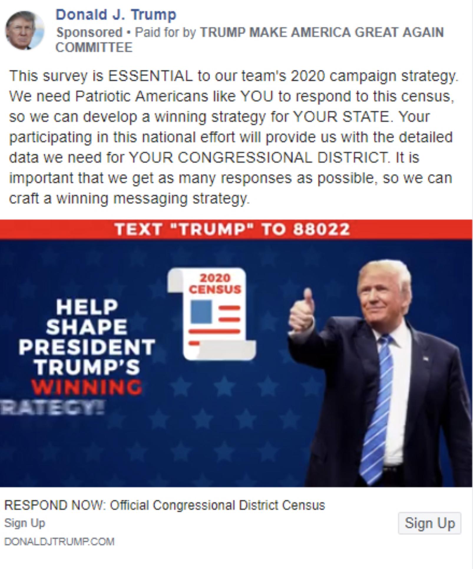 La campagne publicitaire mensongère de Trump.