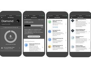 Le programme de fidélité Uber Rewards sur des smartphones