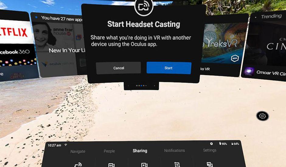 Possibilité de partager les sessions sur Oculus Go