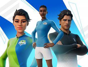 Des personnages de Fortnite arborant des maillots de foot.