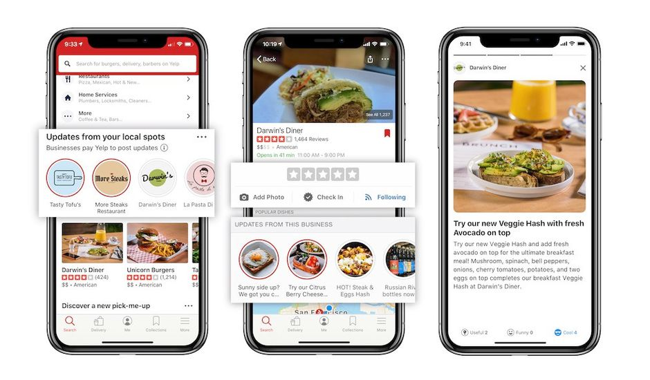 Yelp Connect : la nouvelle version de l'app.