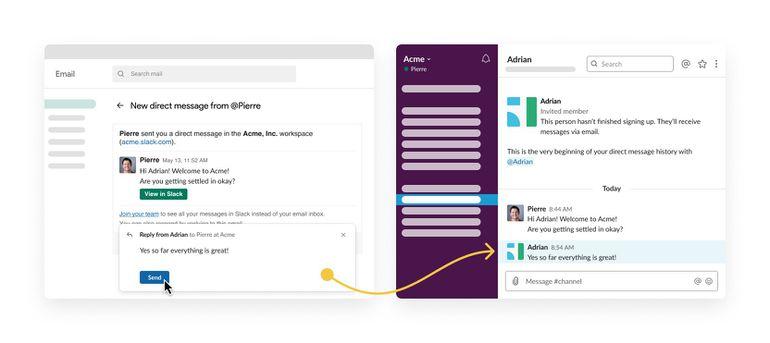 Deuxième étape de réception d'un email depuis Slack. Crédit : Slack
