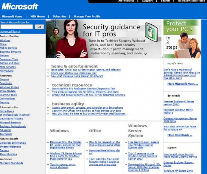 Homepage Microsoft.com 2003