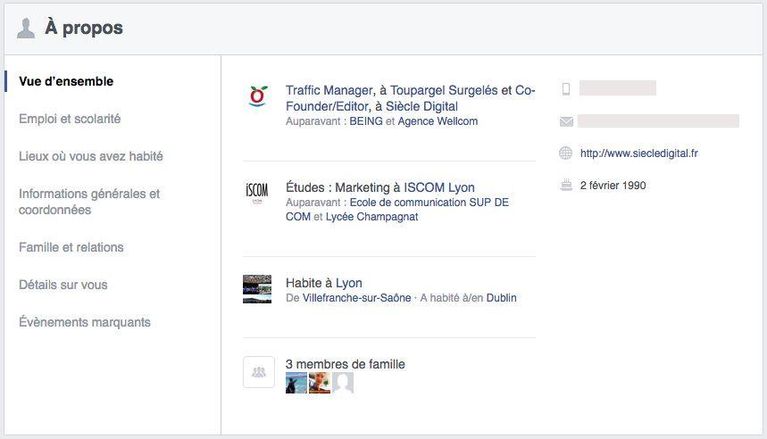 Voici une liste d'informations personnelles transmises pour la diffusion de publicité Facebook.