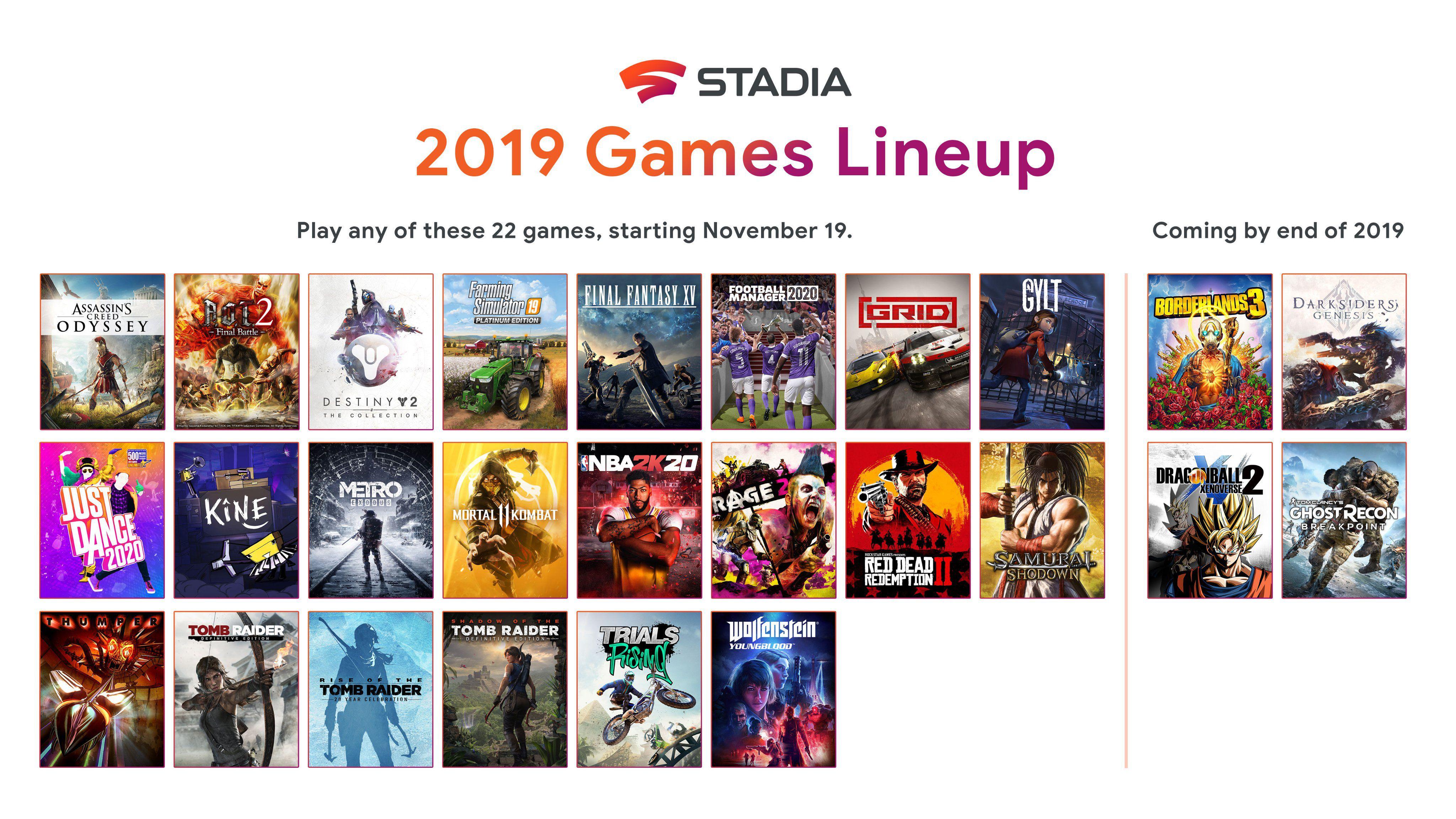 jeux disponibles sur Google Stadia au lancement en novembre 2019