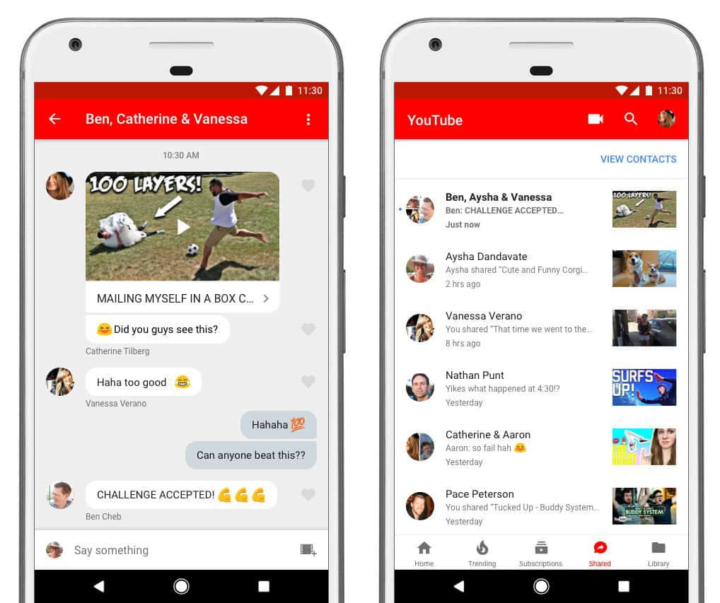 messagerie application YouTube
