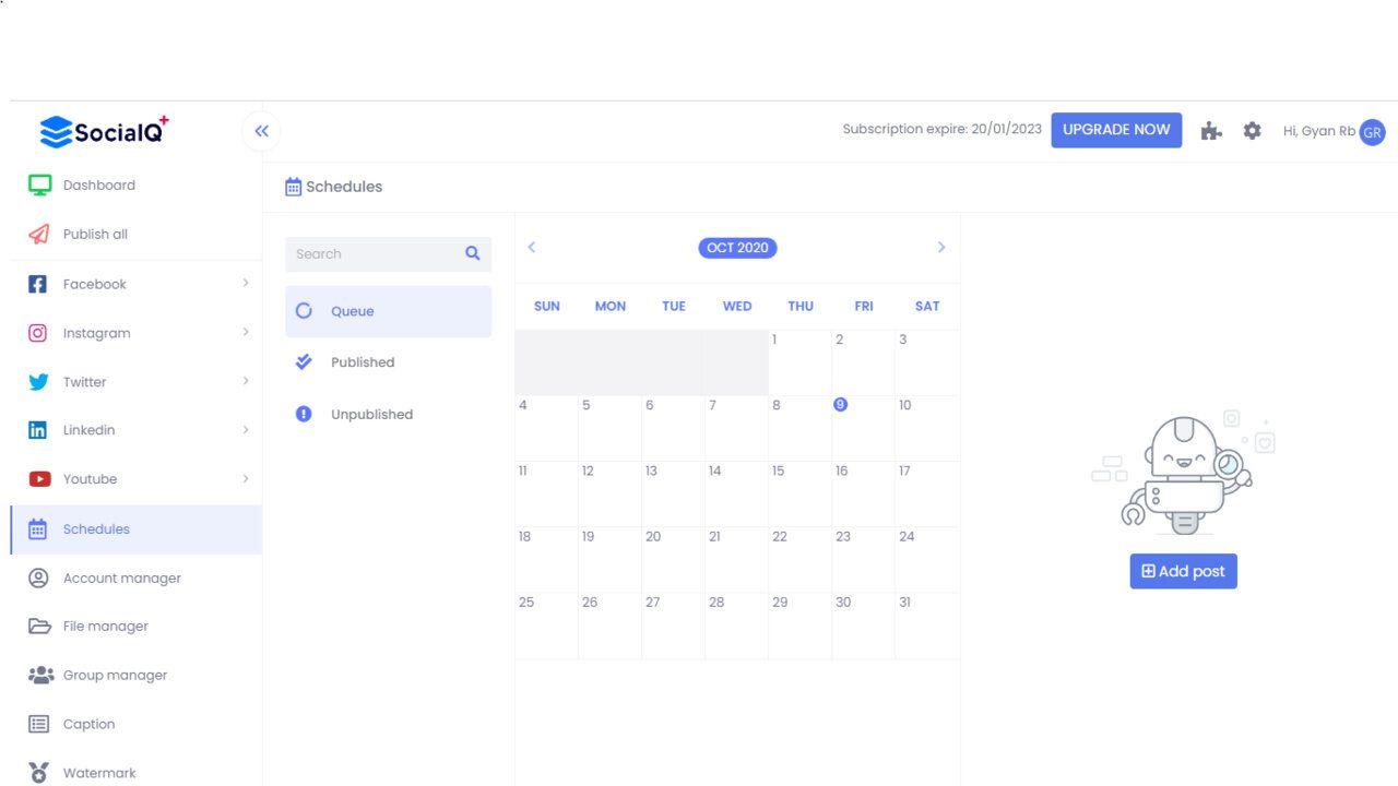 calendrier sur SocialQ+