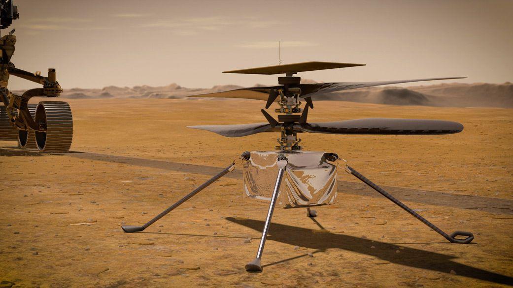 Vision d'artiste de l'hélicoptère Ingenuity.