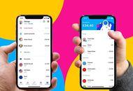 """Deux smartphones affichant les interfaces de l'application """"Revolut Junior"""" sur un fond coloré rose, bleu et jaune."""