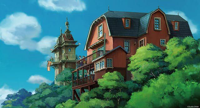 illustration de la zone colline de la jeunesse studio ghibli