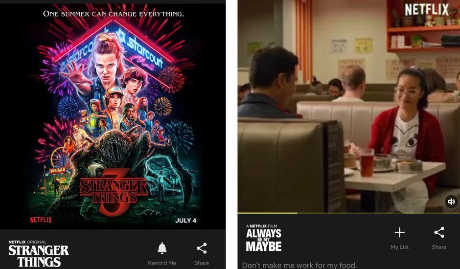 aperçu du nouveau feed dans Netflix